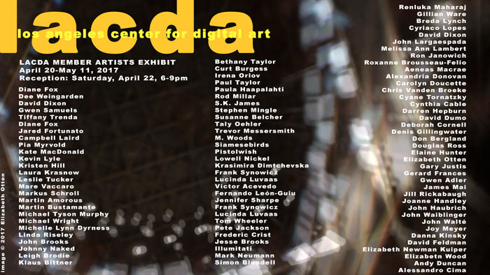 L'exposition annuelle du Los Angeles Center for Digital Art présente plus de 50 artistes numériques jusqu'au 11 mai