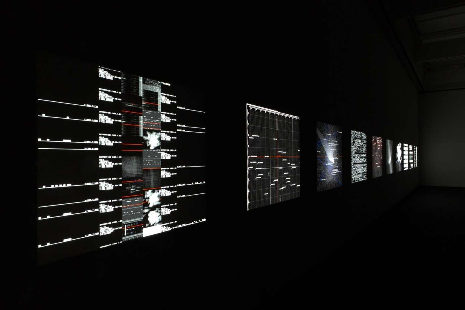 Physical reality and information architecture by Ryoji Ikeda at Almine Rech Paris