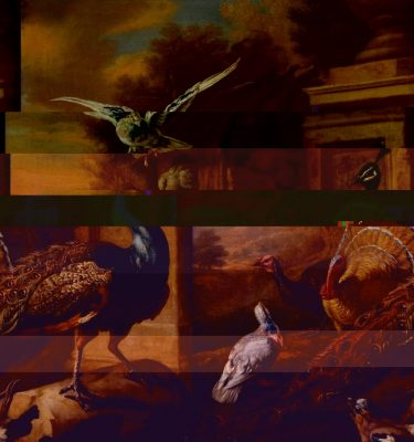 All glitched up – BP Loud Code! – Marmaduke Cradock A Peacock and Other Birds in a Landscape (Tate Britain)