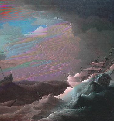 All glitched up – BP Loud Code! – Peter Monamy – Ships in Distress in a Storm (Tate Britain)